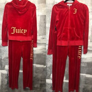 Juicy Couture Red gold VELOUR TRACK SUIT Sweatsuit VINTAGE Small ATHLEISURE