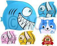 Kids Childrens Fish Shark Silicone Swim Cap Bathing Waterproof Hat Swimming Cap