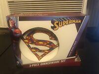 Superman (3) Piece Dinner Set: Plate, Bowl, Mug, DC Comics, Glass, Logo SEALED
