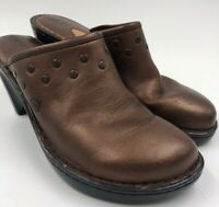 Born Womens Brown Leather Studded Wedge Clogs Shoes W5232 Size 8 / 39
