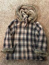 Woolrich Women's Brown Faux Fur Trimmed Tweed Wool Warm Winter Coat Size XL