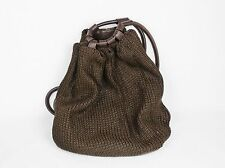 PAOLA DEL LUNGO Italy BACKPACK PURSE BAG Brown Knit Leather