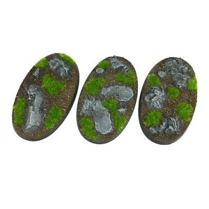 Rocks - Oval Resin Bases 90mm - 3 Painted/Unpainted Bases for Warhammer