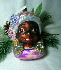 Larry Fraga Glitter Series African Black Woman Face Ornament Made in Poland