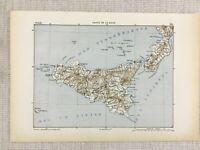 1881 Ancien Militaire Carte De Sicile Italie Italien Détroit De Messina Palermo