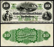 NICE CRISP UNC 1872 PRINCE EDWARD ISLAND $10.BANK NOTE COPY READ DESCRIPTION !