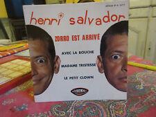 VINYLE 45T EP HENRI SALVADOR ZORRO EST ARRIVE +3 (RIGOLO RI 18717)