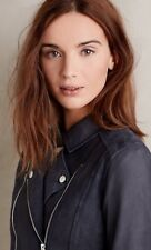 Anthropologie Paige Silvie Leather Suede Blue Moto Jacket Size S Retails $895