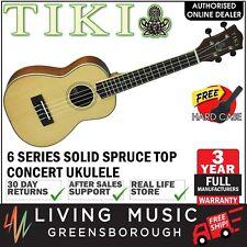 NEW Tiki Solid Spruce Top Concert Ukulele w Hard Case (Natural Satin)