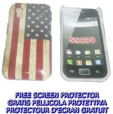 Pellicola+custodia BACK COVER USA FLAG VINTAGE per Samsung Galaxy Ace S5830