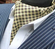 Silk Cravat Ascot.Quality Hand Made in UK.Soft Yellow Gold DBC13-16216-11