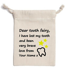 TOOTH FAIRY bag sac letter cute teeth child boy girl drawstring your name print