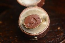 High Carat Gold Jasper Intaglio Ring Of Two Chickens