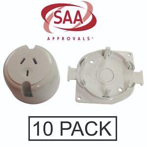 10 x Plug Base Surface Socket 10 Amp Electrical Outlet Fan Base LED Downlight