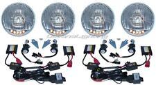 5-3/4 Stock H4 6K 6000K HID Headlight 5-LED Turn Signal Headlamp Light Bulb Set