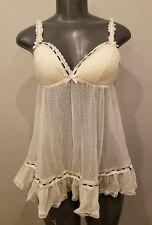 VICTORIA'S SECRET teddy lingerie nightie S polka dot sheer NEW NWOT SISLOU H4