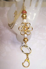 Gold Flower With Red & Gold Murano Beaded Lanyard / Badge Holder