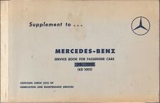 1960 Supplement to Mercedes-Benz Service Book for Passenger Cars (KD 1005)
