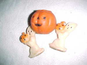 Rare vintage GURLEY   GHOSTS and PUMPKIN     HALLOWEEN CANDLES  -  UNLIT