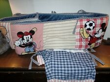 Euc Disney Mickey Mouse 2 Piece Crib Bumper Pad with Ties & Sheet Sports Themed
