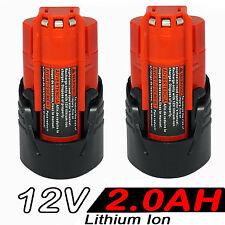 2x 2.0AH 12V Li-ion Battery For Milwaukee M12 M12B2 C12B 48-11-2401 48-11-2411