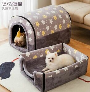Pet Dog Cat House Beds Tent Sofa Mat Cushion Puppy Kitty Indoor house S-L Grey