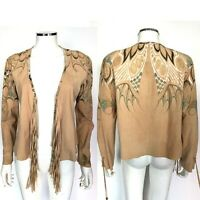 Roberto Cavalli Tan Suede Printed Jacket with Fringe and Glitter sz Small