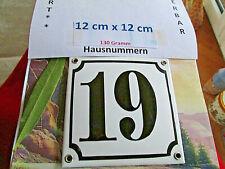 Hausnummer Emaille Nr. 19 schwarze Zahl auf weißem Hintergrund 12 cm x 12 cm  #
