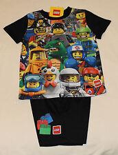 Lego Classic Minifigures Boys Black Printed 2 Piece Pyjama Set Size 5 New
