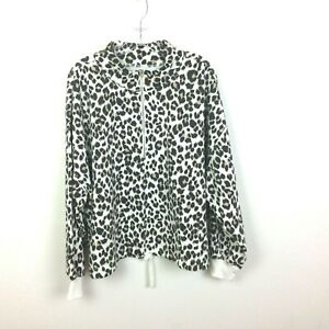 Old Navy Size XL 1/4 Zip Pullover Animal Print Jacket Brown Soft