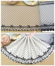 "7""*1Y Embroidered Floral Tulle Lace Trim~White+Black~Little Lady~Doll/Dress/DIY~"