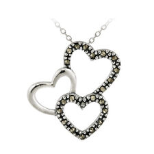 925 Silver Marcasite Triple Floating Hearts Pendant