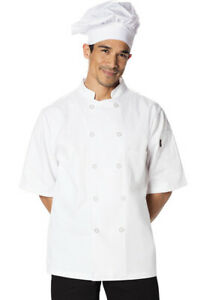 NWT DICKIES CLASSIC 10 BUTTON SHORT SLEEVE CHEF COAT WHITE DC49