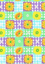 New listing Sunflower Gingham Tile Flower Floral Vinyl Contact Paper Drawer Liner Peel Stick