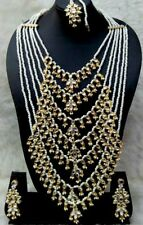 Designer Gold Plated Bollywood Style 7 Line Pearl Kundan Raani Haar Necklace 4pc