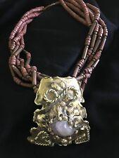 $405 LAVENDER JASPER Cabochon & Brass Artist Designed STATEMENT NECKLACE Pendant