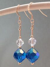Vintage Vivid Blue & Clear AB Faceted Crystals 14ct Rolled Gold Earrings