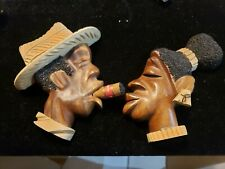 Vintage Cuban Blackamoor Carved Wood Man & Woman Plaques Pair
