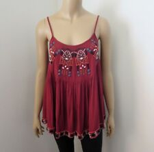 Abercrombie Womens Jewel Embellished Swing Tank Top Size Small Burgundy