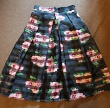 Ladies organza black mesh panel floral skirt size 8 by APRICOT