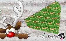 Handmade Xmas Green Reindeer Christmas Dog Bandana Slip On Collar Small