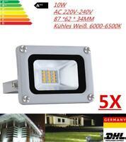 5X LED Fluter 10W Scheinwerfer Flutlicht Aussen Strahler Garten Licht KühlesWeiß