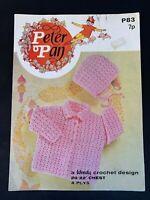 "1 Vintage Baby Crochet Lace 4Ply Cardigan Matinee Jacket Bonnet Pattern 20""-22"""