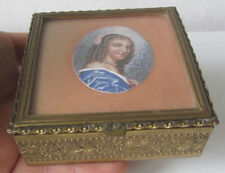 Antica scatola in metallo con miniatura donna/ cofanetto - portabijoux