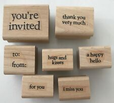 7 Rubber Stamps Sayings Words Phrases Hugs & Kisses Happy Hello I Miss You +