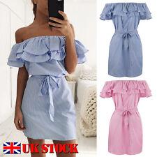 UK Women Off Shoulder Bardot Mini Dress Ladies Summer Ruffle Bodycon Frill Tops