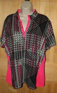 Tail Women's Size XL Pink Black Short Sleeve Tennis Golf Shirt Top