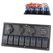 8 Gang Blue LED Rocker Switch Panel Circuit Breaker USB For Car RV Boat Marine