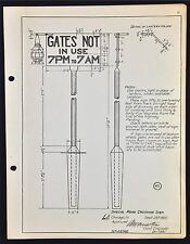 "Vintage Railroad C.B. & Q. R.R. Metal Track Sign Specs. ""Gates Use"". c.1920."