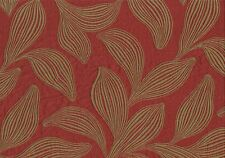 Robert Allen Fabric Bharati Sumac  Red Khaki Leaves Drapery  Upholstery